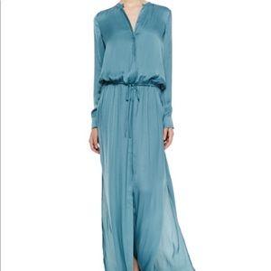 Vince Green Long-Sleeve Drawstring Maxi Dress